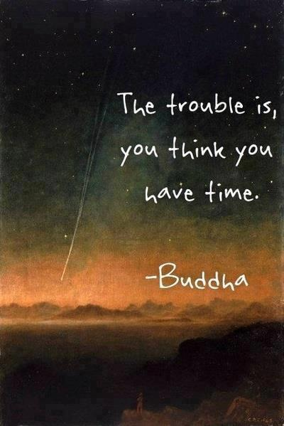 The trouble is you think you have time ~ Budha