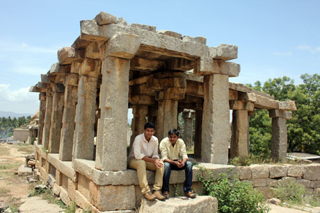 "Aswin and Me. At Hampi. One of our last shots with the tripod. Because apparently shooting with a ""tripod"" needs a permit. Stupid rules."